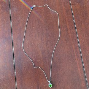 Sterling Silver Peridot Heart Necklace
